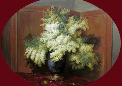 Bouquet de Mimosa devant un paravent.