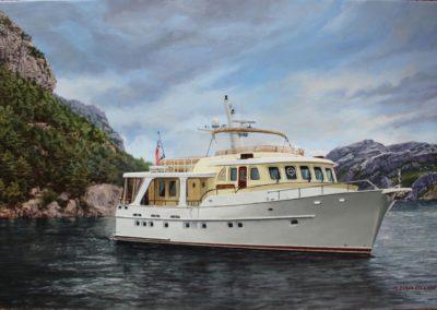 Yacht dans un fjord norvégien